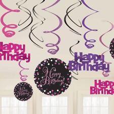 BRILLO ROSA Celebración Feliz Cumpleaños Remolino Decoración Fiesta Suministros