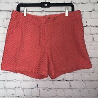 TOMMY BAHAMA Women's Eugenia Eyelet Lace Summer Shorts Cotton Coral Size 12