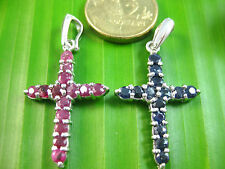 100% Real 925 Sterling Silver NATURAL REAL RUBY & SAPPHIRE cross pendant women