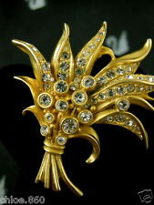 SIGNED SWAROVSKI WHEAT SPRAY FLOWER PIN ~ BROOCH RETIRED RARE NEW WITH PIN CARD