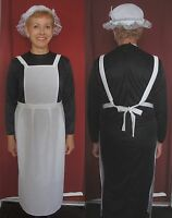ADULTS VICTORIAN MAID COSTUME 10-16 WAITRESS APRON & MOP HAT DOWNTON ABBEY