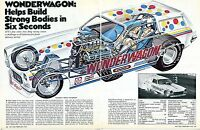 1973 Great 2 Page Centerfold Magazine Pic of Chevy Vega Wonderwagon Funny Car