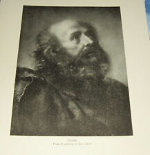 """1911 Print Biblical Figure """"MOSES"""" from the painting CARLO DOLCI Italian painter"""