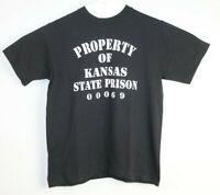 Property Of Kansas State Prison 00069 Men's Black T-Shirt Scout Tag Size M