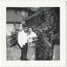 1950s Elvis Greaser in White Dinner Jacket Backyard with Mom Snapshot