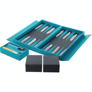 ALEXANDRA LLEWELLYN Feather Travel Backgammon Set - Teal - £1400