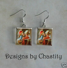 Little Red Riding Hood Earrings - Big Bad Wolf Glass Vintage Altered Art Charm