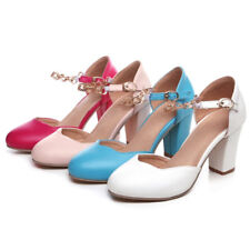 Womens Mary Janes High Heels Fashion Round Toe Ankle Strap Pumps Plus Size Shoes