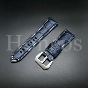 24 MM Blue Genuine Alligator Leather Watch Band Strap Stone Crack Rock 2021 new