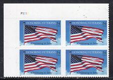 Sc# 3508 34 Cent Honoring Veterans (2001) Unused PB/4 P# P1111 UL SCV $3.00