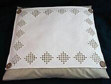 Norwegian HARDANGER Embroidery Accent Pillow w/DOWN INSERT-Tan/Cream-FABULOUS!