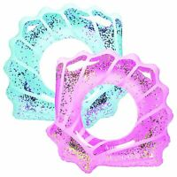 Inflatable Sparkly Seashell Pool Float Swimming Tube Ring Swim Floatie Raft