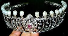 18.50ct ROSE CUT DIAMOND PEARL RUBY ANTIQUE VICTORIAN LOOK 925 SILVER TIARA