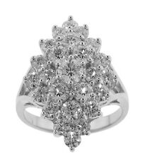 3.00 ct Tw Round Cut Diamond Anniversary Cluster White Gold Ring 18 Kt Gold