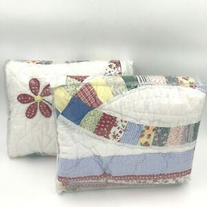 JCPenney Home 2 King Pillow Shams Patchwork Quilted Ring 72204830018 Red Blue K6
