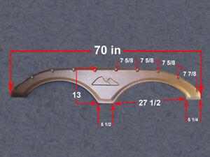RV 70in Trailer Fender Tire Flair Wheel Cover Molding Skirt 2ea SET Nickel Color