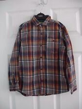 Boys' Rust & Navy Blue Checked Next Long Sleeved Shirt Size 8 Years