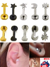 Surgical Steel 16g Tragus Labret Studs Star Moon Top Ear Lip Body Piercing 1pc