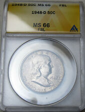 1948 D FRANKLIN HALF DOLLAR MS 66 FBL ANACS  MINT STATE 66
