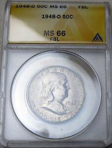 1948 D FRANKLIN HALF DOLLAR MS 66 FBL ANACS  MINT STATE 66