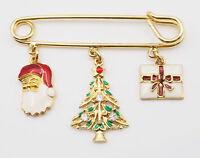 1995 Avon Safety Pin Enamel Christmas Santa Tree Present Charm Fashion Brooch