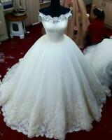 White Ivory Wedding Dresses Bridal Ball Gowns Off Shoulder Elegant Princess 2019