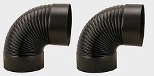 """2~ IMPERIAL 6"""" Heavy Duty BLACK Stove Pipe CORRUGATED 90° ELBOW 24 Gauge BM0023"""
