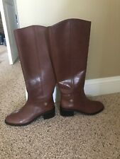Tory Burch Tall Brown Leather Equestrian Style Boots Size 9 New