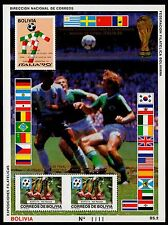 BOLIVIA, MICHEL # BLK189 MINI SHEET OF ITALIAN AND INTERNATIONAL SOCCER GAMES