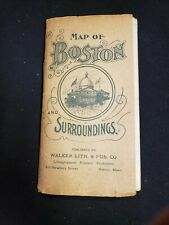 MAP OF BOSTON AND SURROUNDINGS vintage fold-out WALKER Lith & Pub.