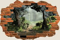 3D Hole in Wall Fantasy Forest View Wall Stickers Film Decal Wallpaper Mural 713