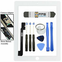 Front Panel Touch Screen Glass Digitizer + Home Button Assembly for iPad 4 White