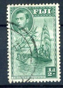 Fiji KGVI 1938-55 Halfpence green 'extra palm frond' p12 SG249ba used