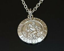"""ST CHRISTOPHER PROTECT pendant 20"""" Sterling Silver 925 necklace chain female men"""