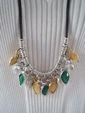 & yellow stone long necklace, Nwt Robert Lee Morris brown cord~silver tone green
