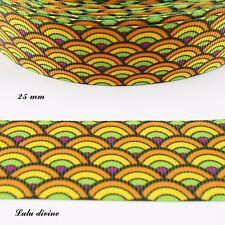 Ruban gros grain Eventail violet vert jaune orange & noir de 25 mm vendu au m