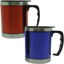 2x Thermo Mug 450ml Stainless Steel Insulated Mug Cup Drinking Cup 1x Red 1x Blue