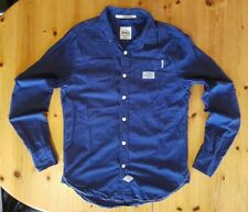 Men's Superdry Raw Riveter Jeans Edition Navy Striped Fitted Shirt - Medium