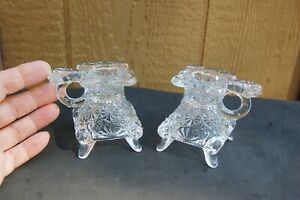 """Pressed Glass Candle Holder Pair Antique Pot Belly Stove Shape 3"""" tall Vintage"""