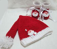 Scarpe e cappello Babbo Natale neonati 3/6 Lavorati a mano uncinetto Unisex