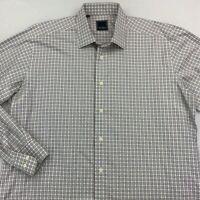 David Donahue Mens Dress Shirt White Brown Plaid Spread Collar 17 36/37