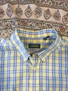 ORVIS - Yellow-Blue-Orange - Check - Cotton - Button Cuff - Shirt - XL