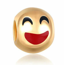 3 PC EMOJI HAPPY EXPRESSION 18K GOLD PLATE EUROPEAN BEAD CHARM for BRACELET HM