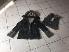 Manteau parka IKKS et gilet taille 6 ans noir et fourrure bon etat