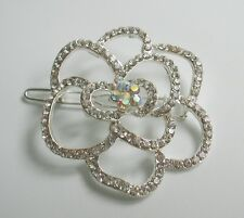 Clear & AB crystal/diamante rose flower silver hair clip/slide. Wedding/bridal