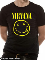Nirvana T Shirt Smiley Officially Licensed Mens Black Tee Kurt Cobain Rock Merch