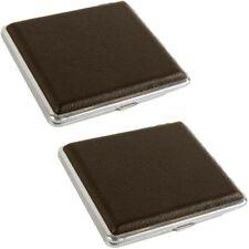 2x Elegantes Metall Zigaretten-Etui Zigarettenbox Zigarettenetui 9,8x9,3cm braun