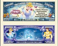 Cinderella Million Dollar Bill Play Funny Money Novelty Note + FREE SLEEVE