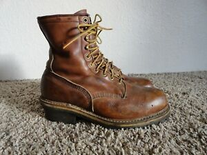 RED WING STEEL TOE LOGGER WORK BOOTS 10 EE MADE IN USA