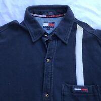 Vintage Tommy Jeans Button Up Polo Shirt Mens Large L Flag Spellout 100% Cotton